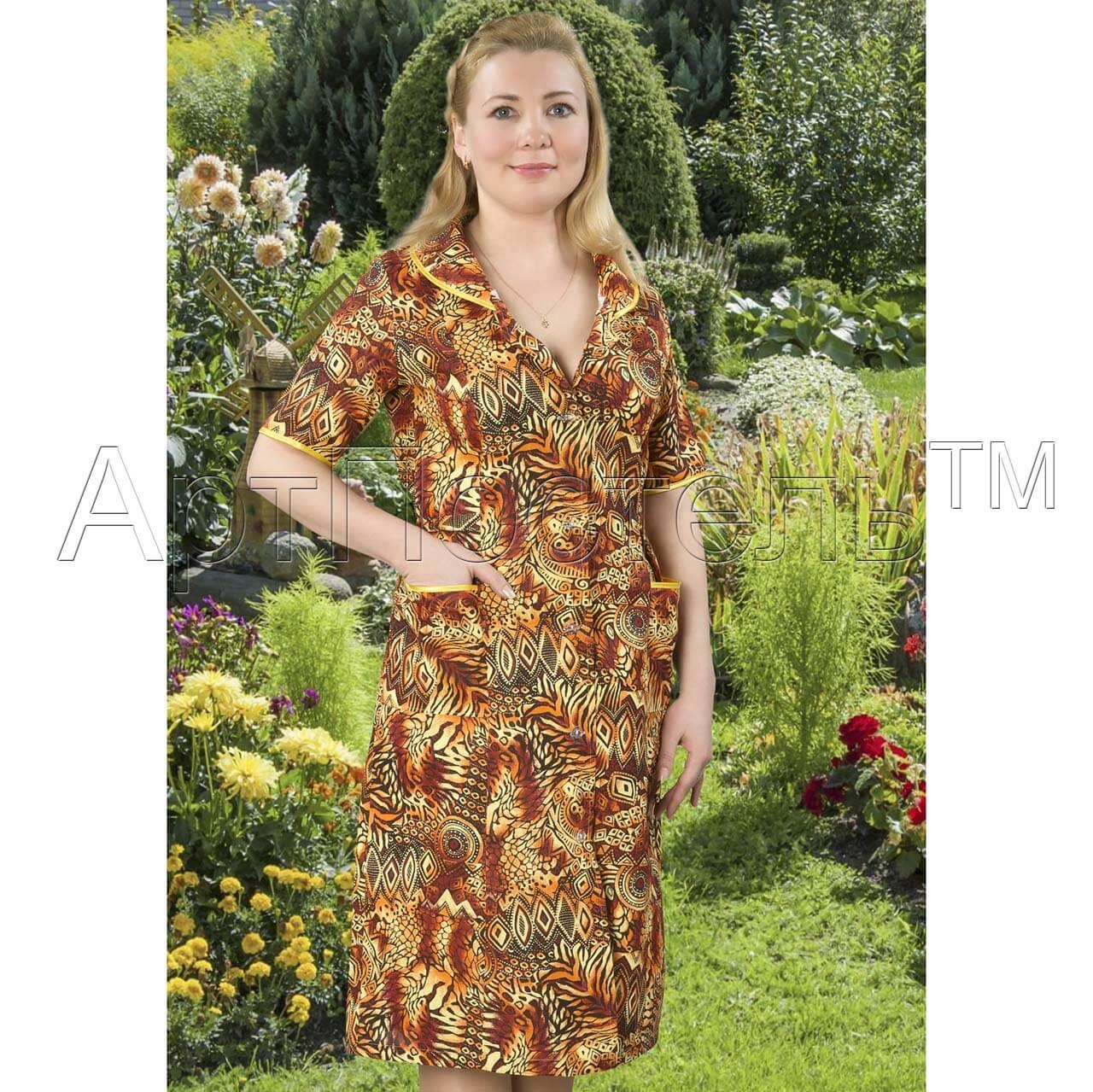 c2fdfbbdef8f3 Купить женский халат на пуговицах Африканские мотивы из бязи ...