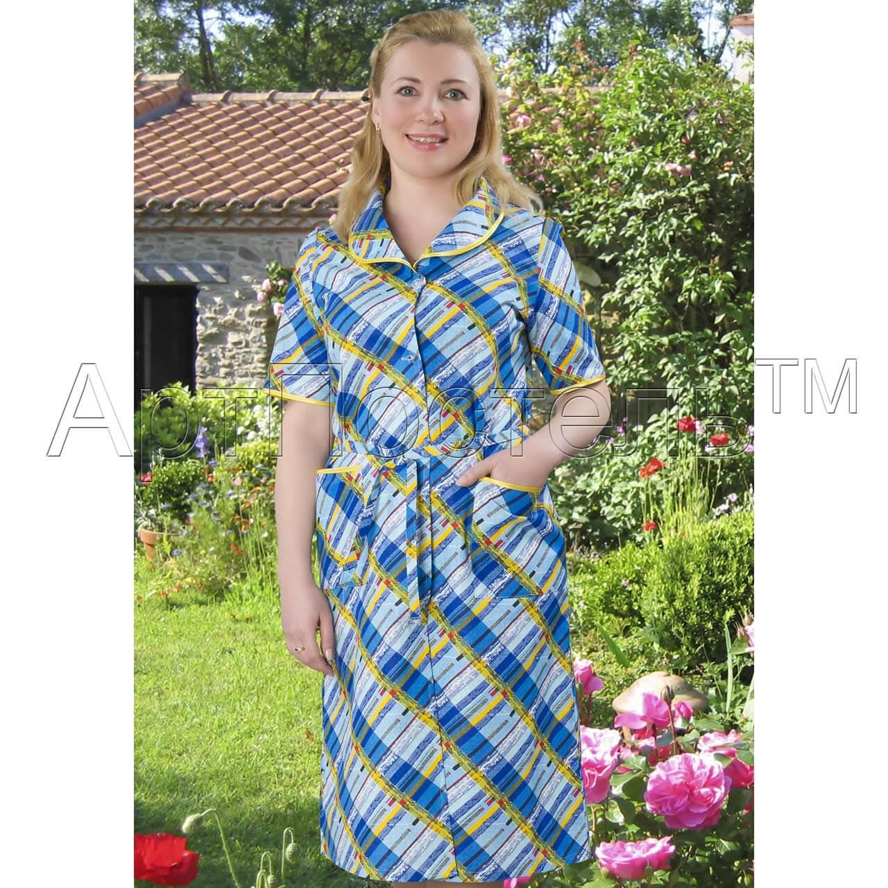9754476be87c7 Купить женский халат на пуговицах Арлекин -- АртПостель онлайн