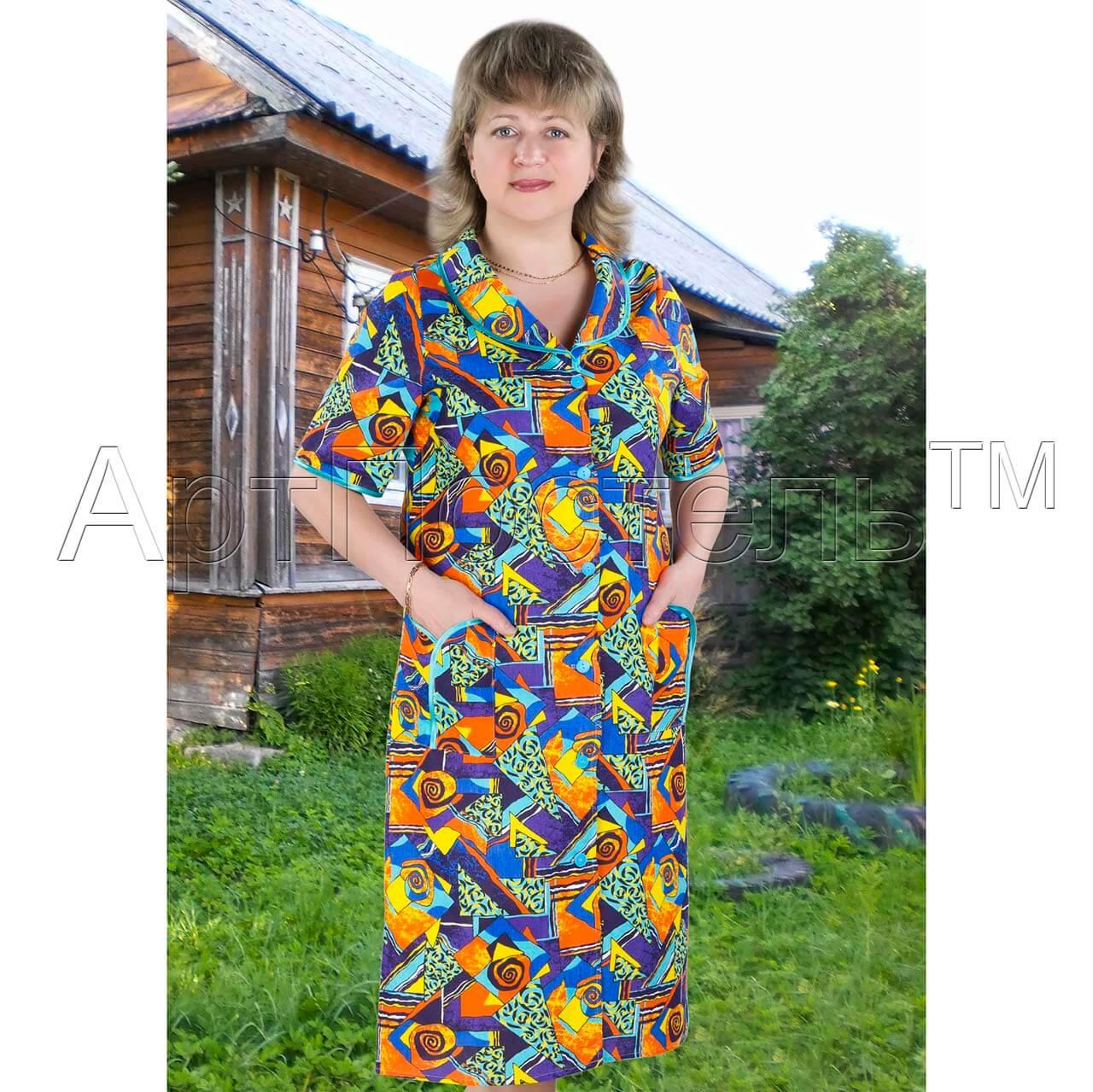 e8872db2e04ba Купить женский халат на пуговицах Пикассо из бязи -- АртПостель онлайн